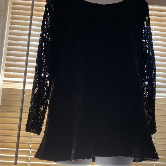 Rafaella Tops - Black lace peplum top